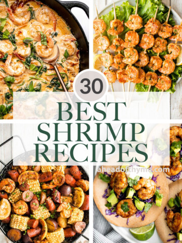 Browse 30 best and most popular shrimp recipes for dinner including creamy shrimp, grilled shrimp, pasta, salad, appetizers, and more! | aheadofthyme.com