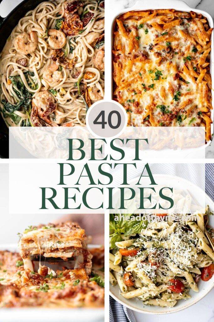 Browse 40 best and most popular pasta recipes including meaty pastas, lasagnas, chicken pastas, seafood pastas, vegetarian pastas, salad, soup, and more!