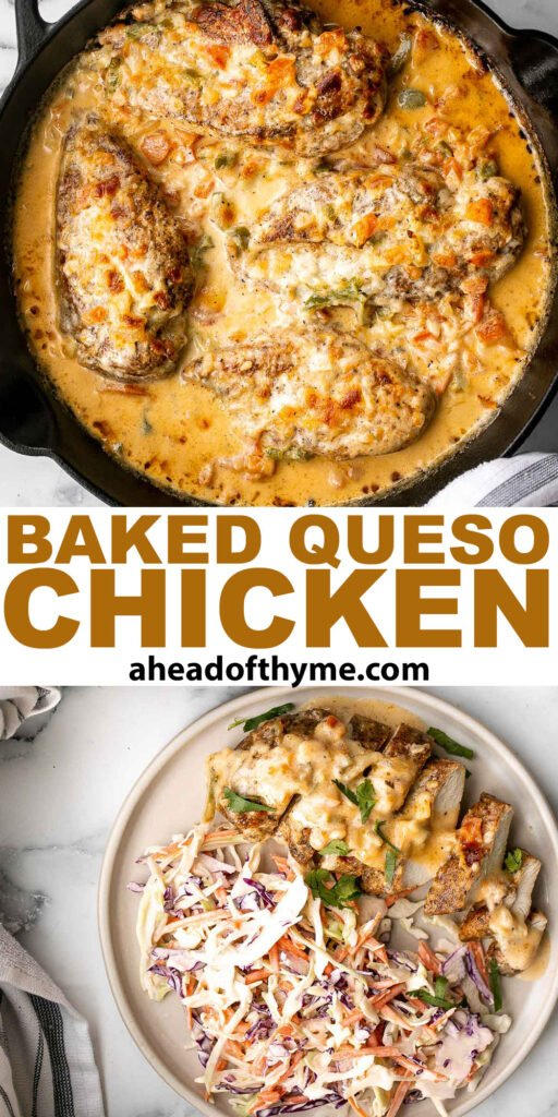 Baked queso chicken with tomatoes is an easy, cheesy, delicious chicken dinner that takes just 30 minutes to cook. The best weeknight dinner. | aheadofthyme.com