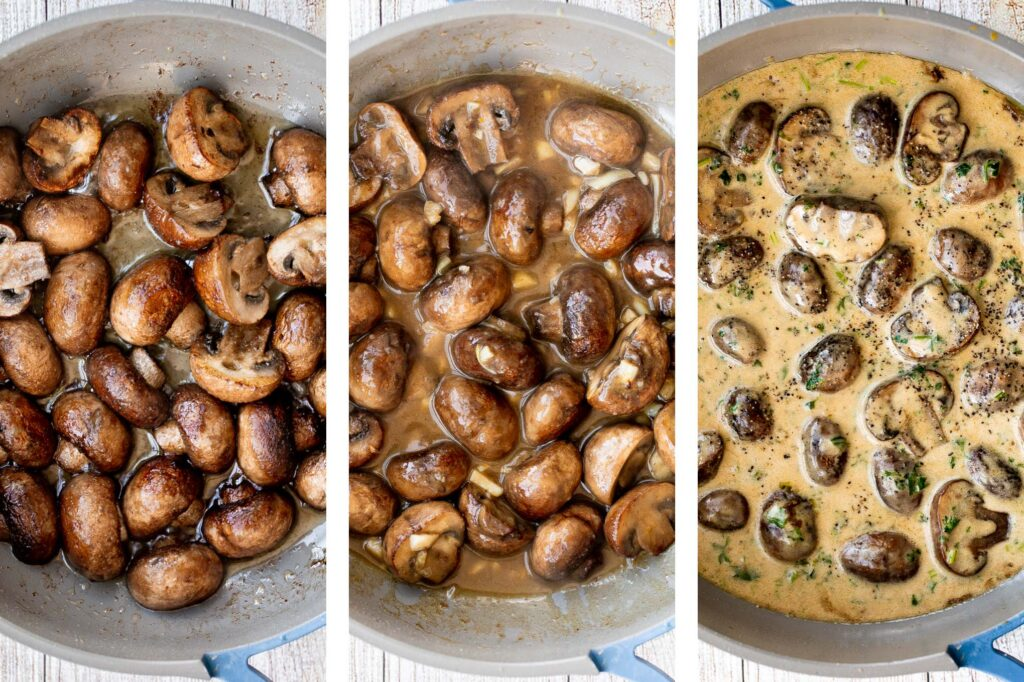 Creamy garlic mushrooms are a simple, delicious, and easy side dish. This comforting family favorite that is quick and easy to make in just 15 minutes. | aheadofthyme.com