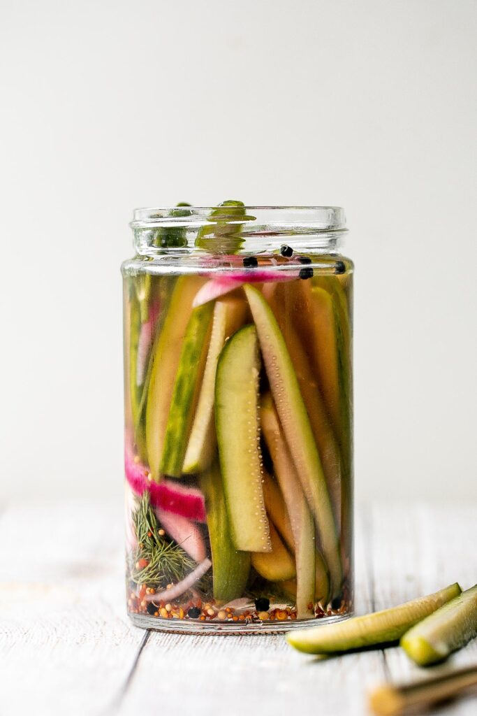 Homemade pickles are easy to make at home in just 5 minutes with no canning required. Plus, they are ready to eat in just 1 to 2 days! | aheadofthyme.com