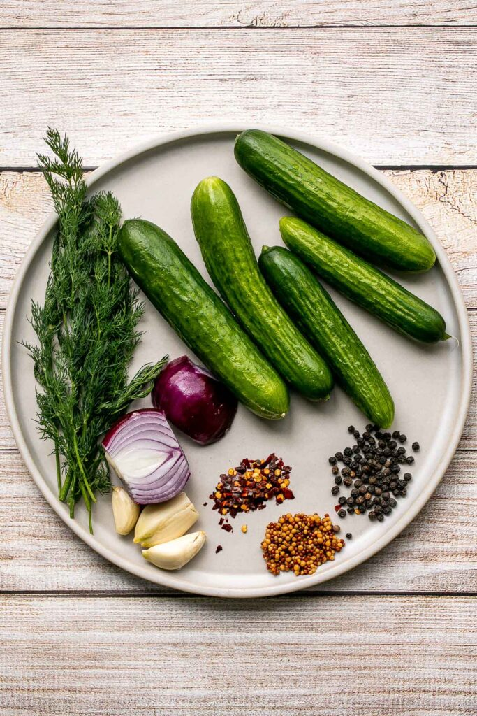 Homemade pickles are easy to make at home in just 5 minutes with no canning required. Plus, they are ready to eat in just 1 to 2 days!   aheadofthyme.com