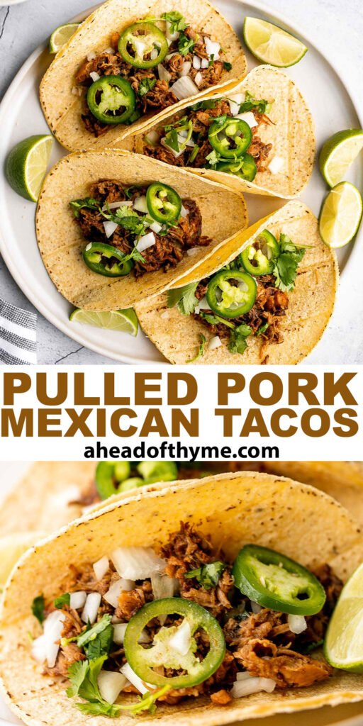 Mexican pulled pork tacos with juicy and tender traditional carnitas wrapped in corn tortillas and topped with fresh onions, cilantro, and jalapeños.   aheadofthyme.com