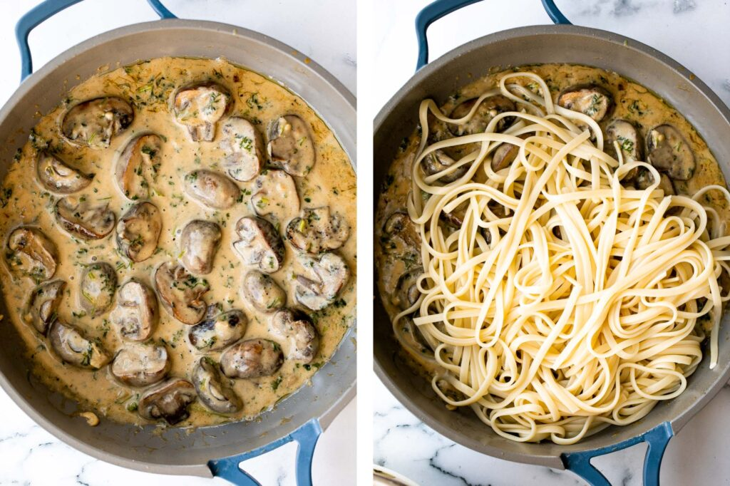 Creamy mushroom pasta is packed with buttery garlicky mushrooms swimming in a delicious creamy Parmesan sauce. Quick and easy make in 20 minutes. | aheadofthyme.com