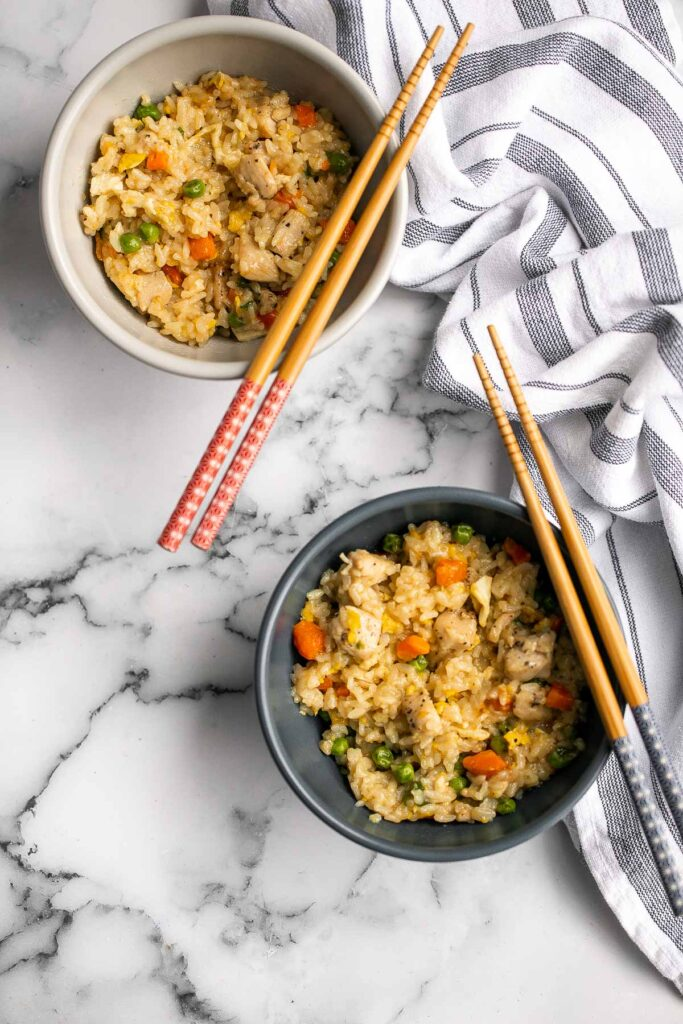 Instant pot chicken fried rice is easy to throw together, packed with flavor, and delicious. It's perfect for a weeknight family dinner or meal prep. | aheadofthyme.com