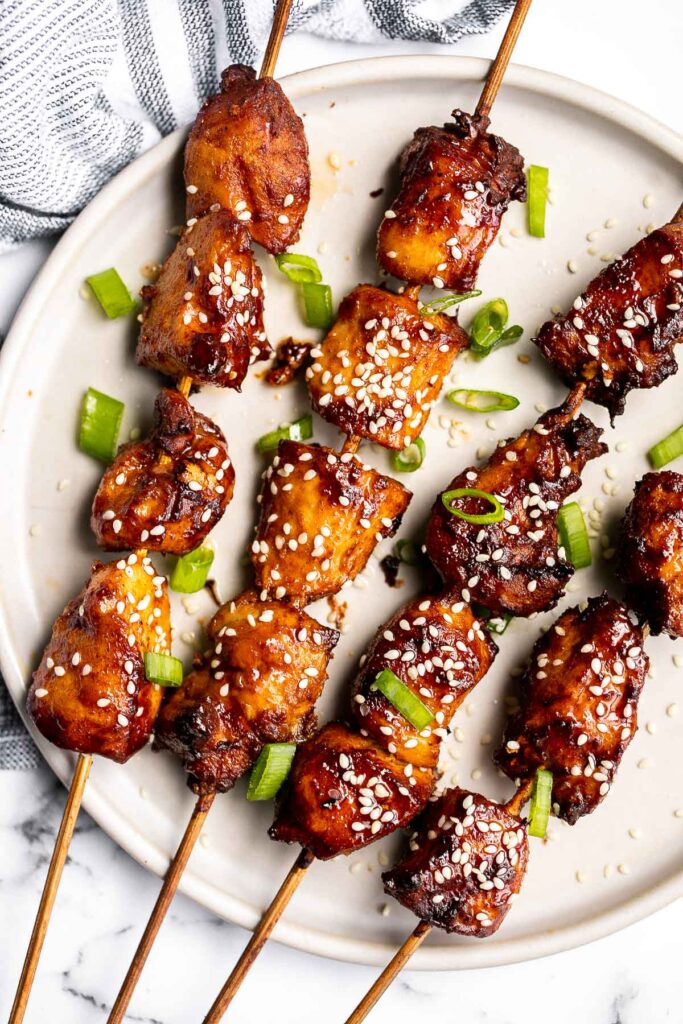 Juicy and tender Korean chicken skewers are packed with bold flavors bringing sweet, savory, and spicy your dinner table. The best summer weeknight dinner. | aheadofthyme.com
