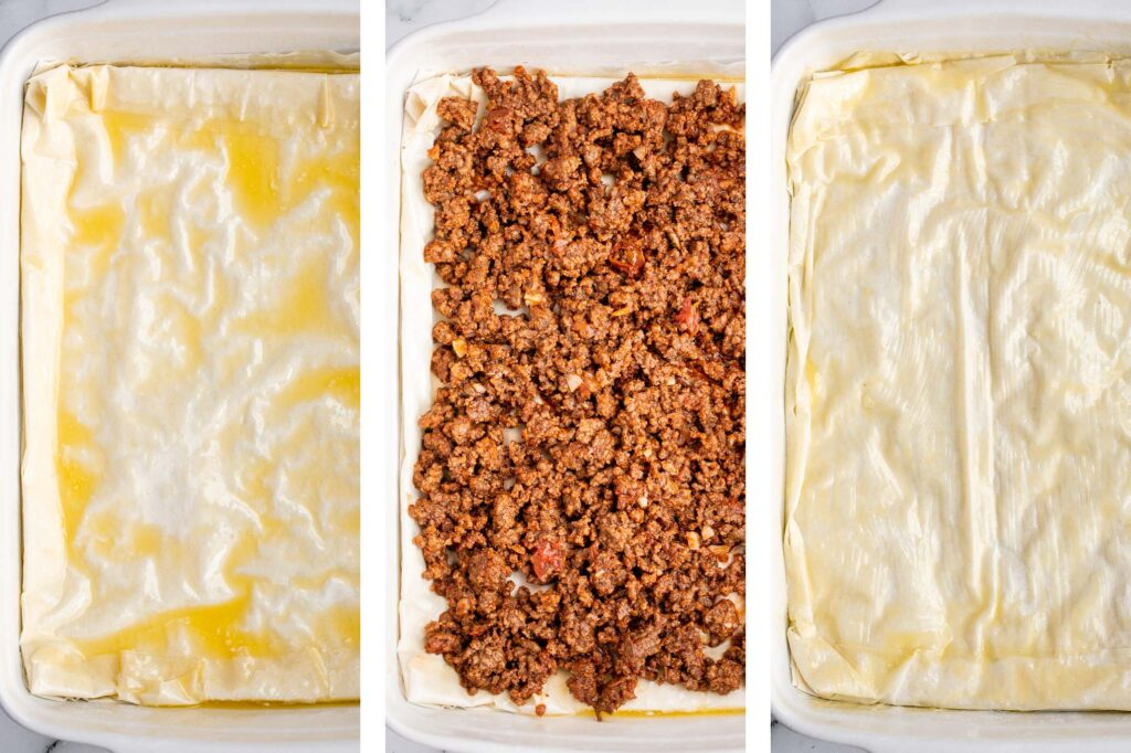 Phyllo meat pie (Egyptian goulash) is a savory pie made of well-seasoned ground beef that lies between layers of flaky, crispy, golden phyllo pastry dough. | aheadofthyme.com