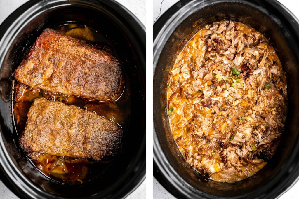 Crispy, shredded slow cooker carnitas (pulled pork) are a Mexican favorite that you can make at home. Packed with flavor, easy to make, and minimal dishes.   aheadofthyme.com