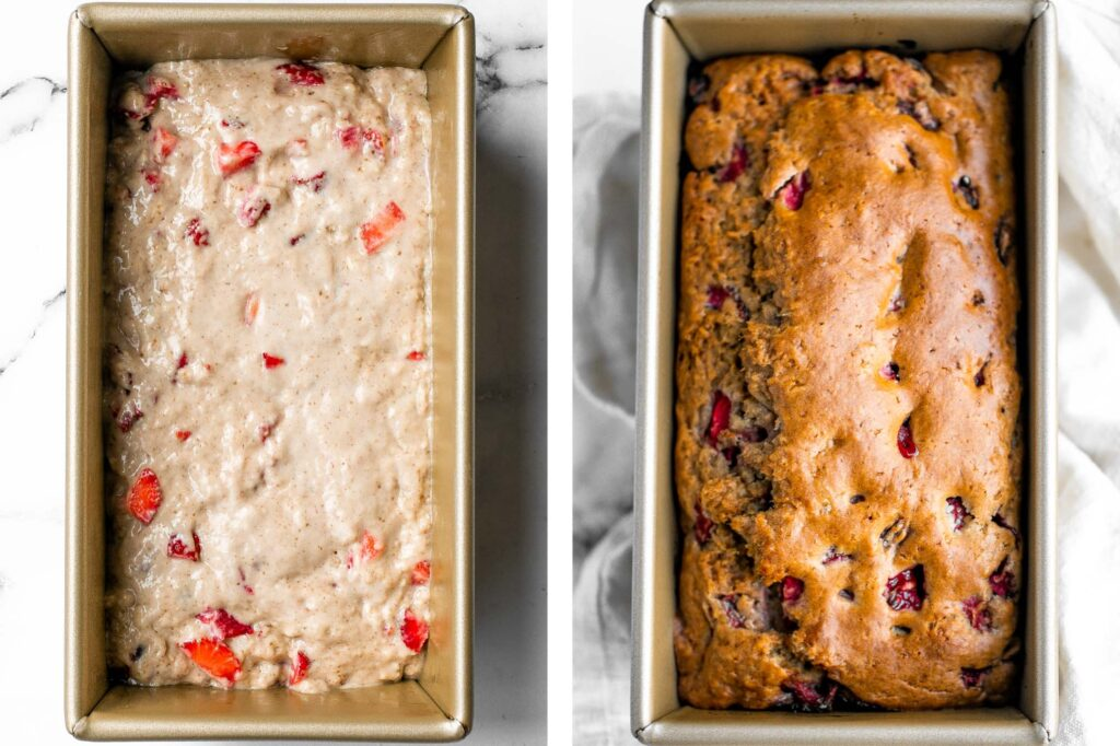 Strawberry bread is fluffy, soft, and moist, packed with farm-fresh strawberries. Simple, sweet, and delicious, perfect for a summer brunch. | aheadofthyme.com