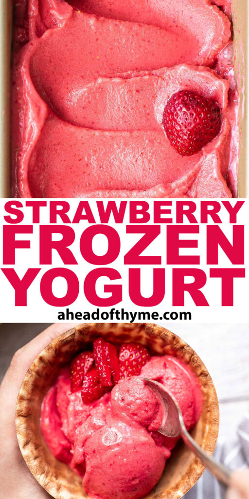 Homemade strawberry frozen yogurt is a delicious, refreshing, healthy dessert made with 4 simple ingredients, no refined sugar, and in less than 5 minutes. | aheadofthyme.com