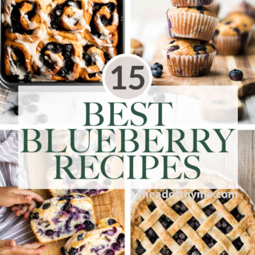Over 15 best most popular blueberry recipes when wondering what to make with fresh blueberries including dessert, cakes, pies, breakfast, and baked goods.   aheadofthyme.com