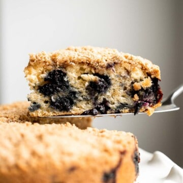 Blueberry buckle cake is soft and moist, loaded with fresh blueberries, and has a crunchy, sweet and buttery streusel topping. It's the best coffee cake. | aheadofthyme.com