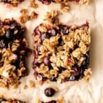 Blueberry oat squares are sweet, buttery, and delicious, with three mouthwatering layers. With just 15 minutes of prep, they are the perfect treat.   aheadofthyme.com
