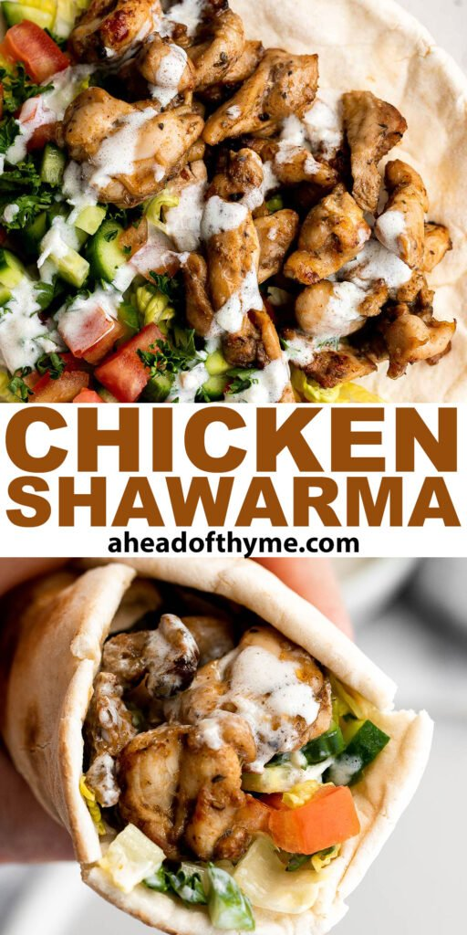 Homemade chicken shawarma (donair) with juicy tender chicken marinated in Middle Eastern spices and wrapped in pita bread is easy to make at home. | aheadofthyme.com