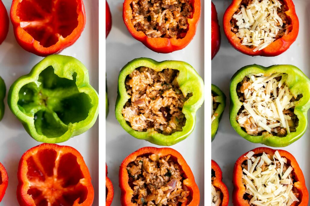 Ground beef stuffed peppers are delicious, healthy, and filling. Stuffed with beef rice and veggies, they're easy to make ahead and freezer-friendly. | aheadofthyme.com