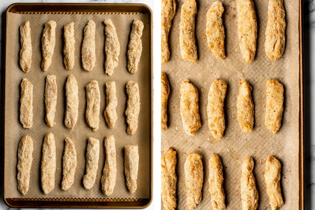 Quick easy baked homemade fish sticks are crispy on the outside, tender and flaky on the inside, and packed with flavor. Kid-friendly + freezer-friendly. | aheadofthyme.com