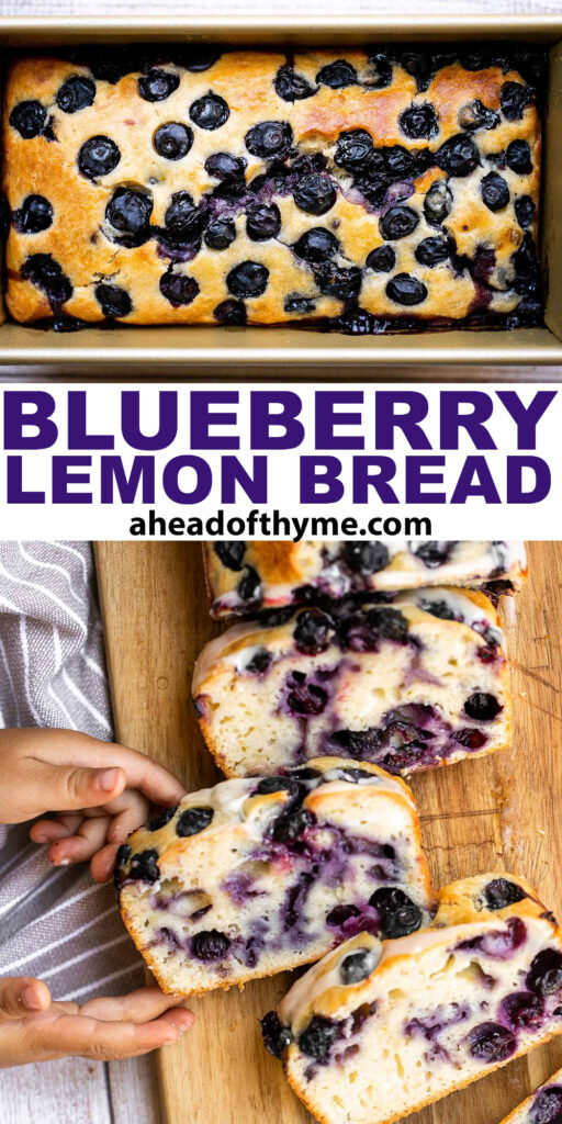 Easy lemon blueberry bread with lemon glaze is soft, moist, and delicious. This quick bread with fresh blueberries and lemon is the perfect summer dessert.   aheadofthyme.com