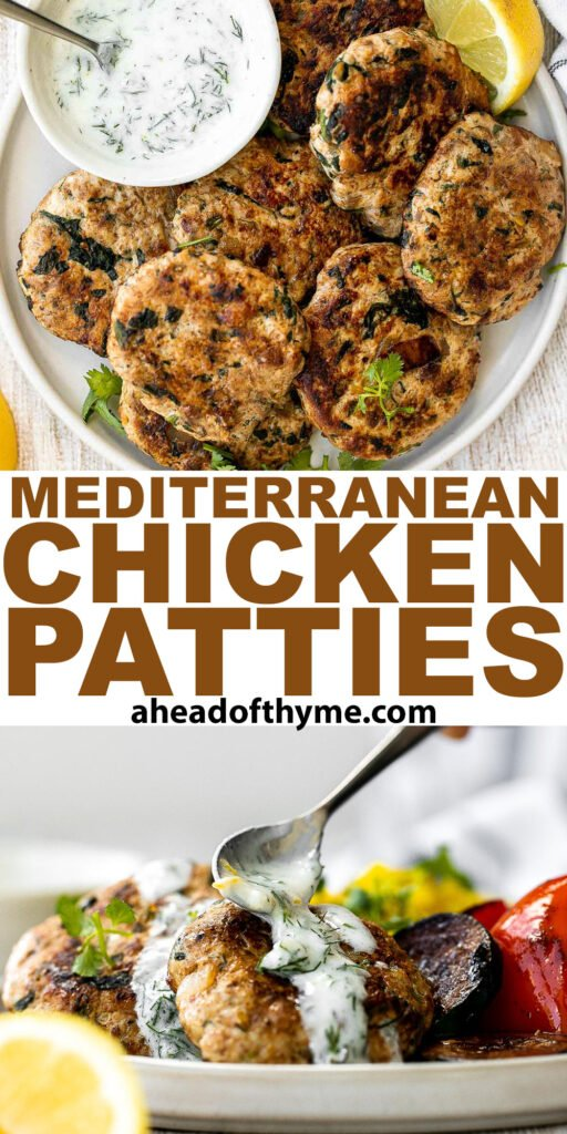Delicious, moist and juicy Mediterranean chicken patties have everything you want in one bite: protein, veggies, herbs, and they're quick and easy to make.   aheadofthyme.com