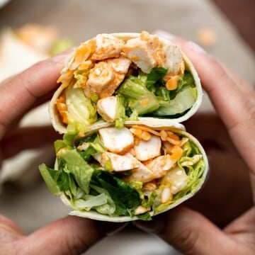 Quick easy buffalo turkey wraps with homemade buffalo sauce are flavorful, spicy, and delicious. A healthy lunch that will keep you full until dinner. | aheadofthyme.com