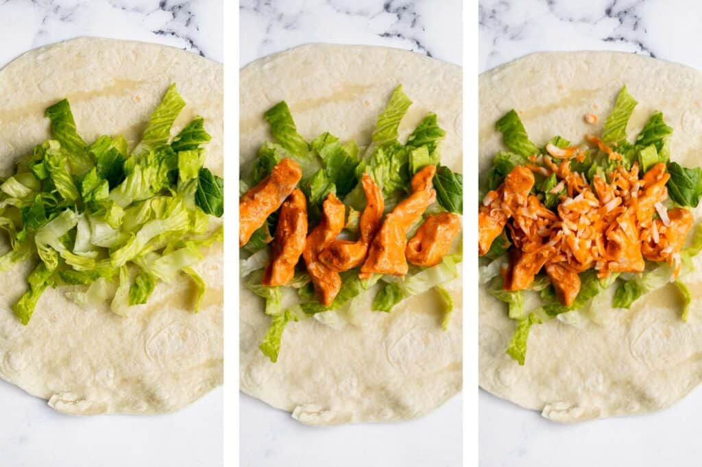 Quick easy buffalo turkey wraps with homemade buffalo sauce are flavorful, spicy, and delicious. A healthy lunch that will keep you full until dinner.   aheadofthyme.com