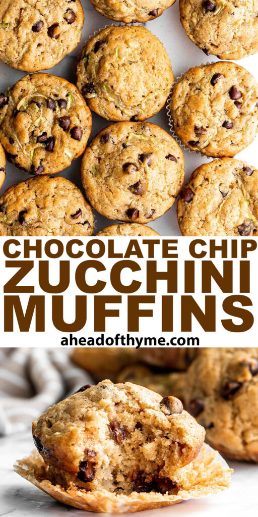 Chocolate chip zucchini muffins are moist, fluffy, and delicious. They are made healthier with fresh zucchini and yogurt which also adds amazing texture. | aheadofthyme.com