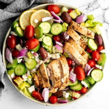 Greek chicken salad is fresh, healthy, and delicious, packed with classic Mediterranean flavors. Perfect as a light lunch or dinner, or for meal prep. | aheadofthyme.com
