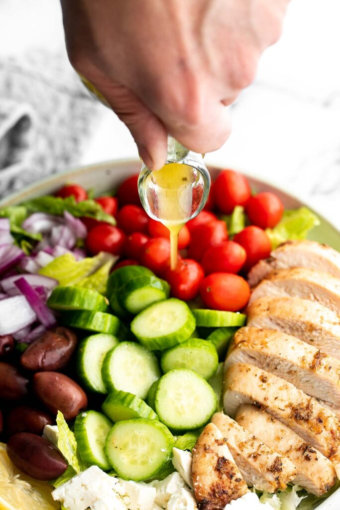 Greek chicken salad is fresh, healthy, and delicious, packed with classic Mediterranean flavors. Perfect as a light lunch or dinner, or for meal prep.   aheadofthyme.com
