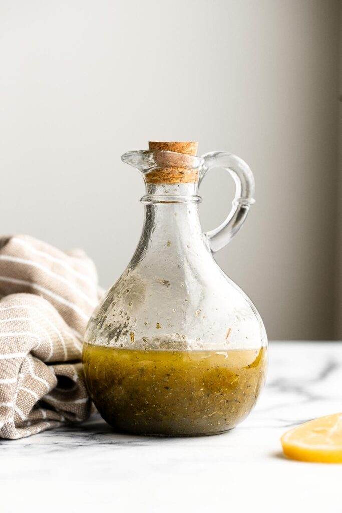 Homemade Greek salad dressing is light, fresh, and flavorful. Quick and easy, and so much better, tastier, and healthier than store-bought.   aheadofthyme.com