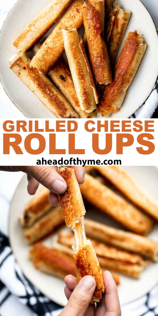 Grilled cheese roll ups are a fun twist on a classic grilled cheese that gives you a hot handheld lunch to enjoy. They're kid-friendly and easy to make.   aheadofthyme.com