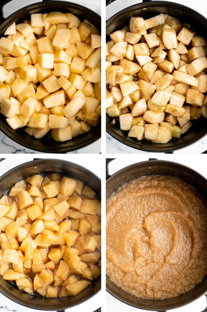 Homemade applesauce is a quick and easy fall treat with just 3 ingredients and very little time and effort. Serve it as a healthy snack or dessert. | aheadofthyme.com