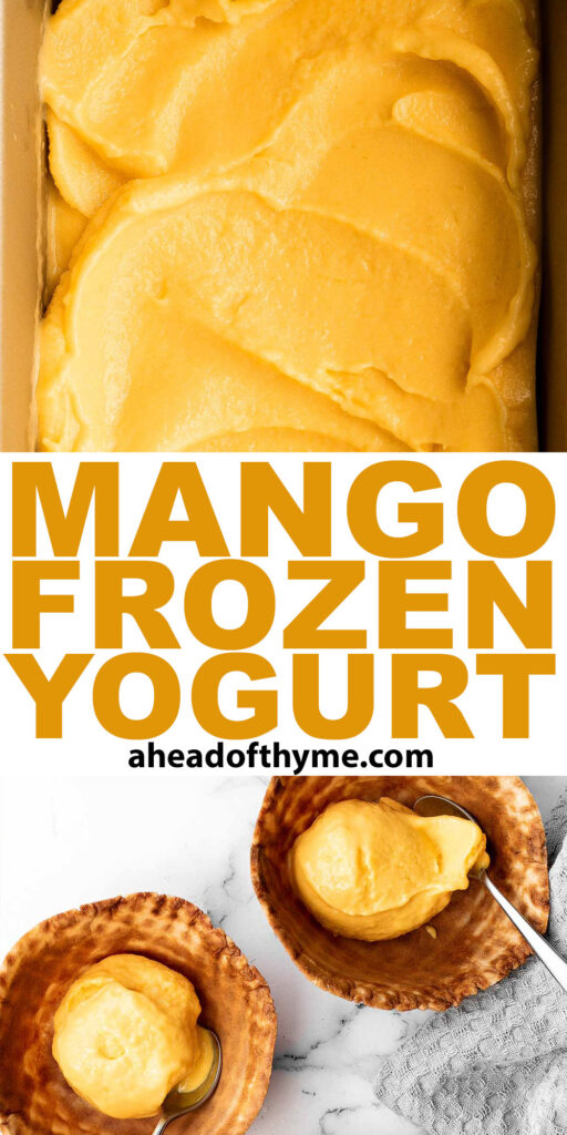 Mango frozen yogurt is a healthy, creamy, fruity, and refreshing frozen treat that's easy to make in minutes with a few ingredients and no refined sugar. | aheadofthyme.com