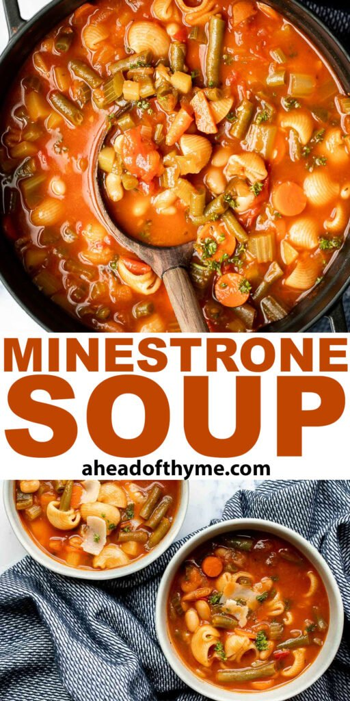 Minestrone soup is a hearty, healthy, nourishing, and delicious classic Italian soup, packed with vegetables and pasta simmered in a rich tomato broth.   aheadofthyme.com