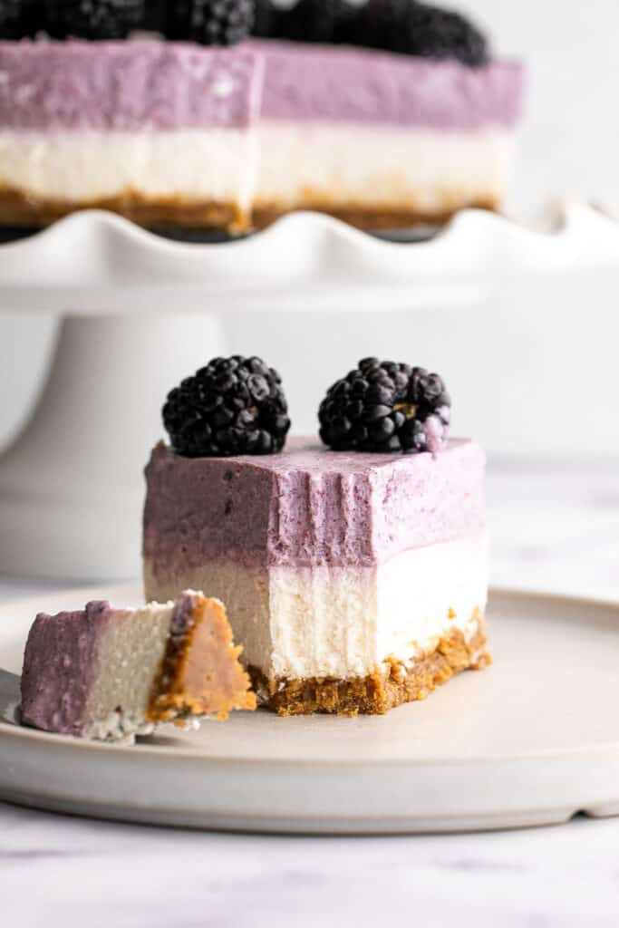 No bake blackberry cheesecake is light, smooth, creamy, and delicious, with a buttery graham cracker crust, cheesecake layer, and blackberry mousse on top.   aheadofthyme.com