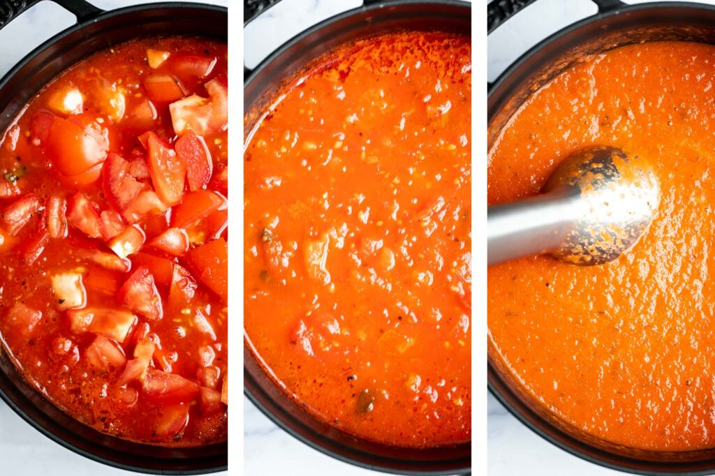 Homemade tomato basil soup is comforting, rich, and smooth. This cozy soup is easy, flavourful, and nourishing, making it so much better than canned. | aheadofthyme.com