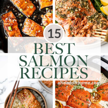 Over 15 of the best and most popular salmon recipes including everything from glazed salmon, herby salmon, creamy shrimp, garlicky salmon, and more. | aheadofthyme.com
