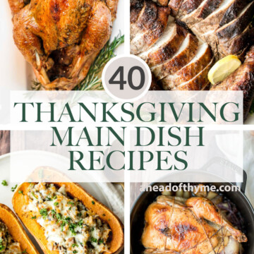 Over 40 most popular best Thanksgiving main dishes from turkey, chicken, vegetarian mains, and everything else that is not turkey (beef, lamb, or pork). | aheadofthyme.com
