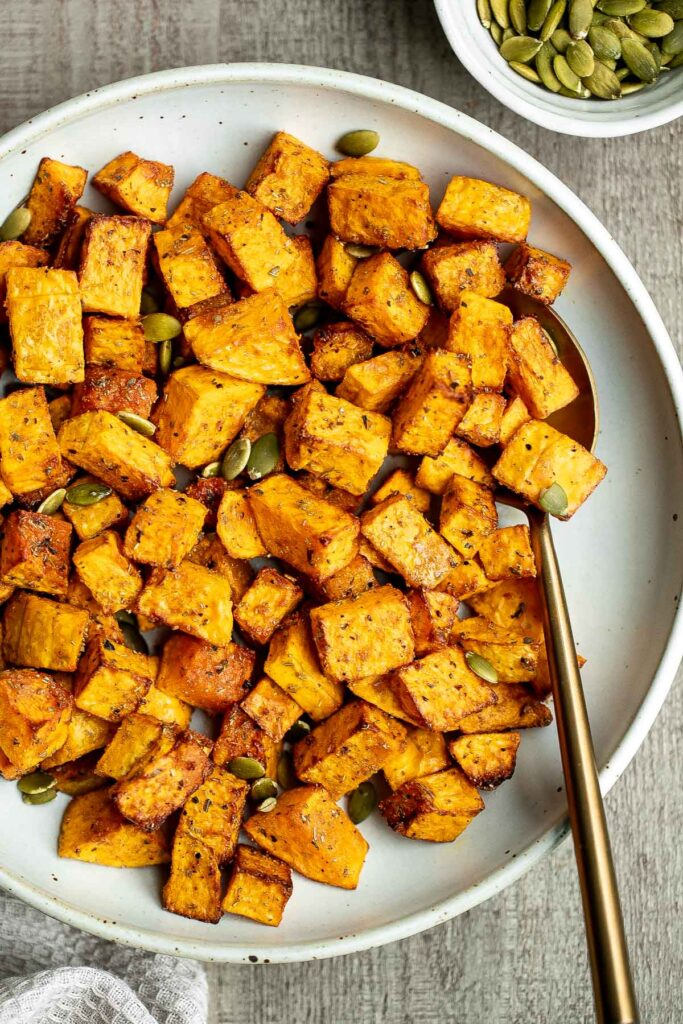 Air fryer butternut squash is a healthy side dish that is crispy on the outside and soft inside. It