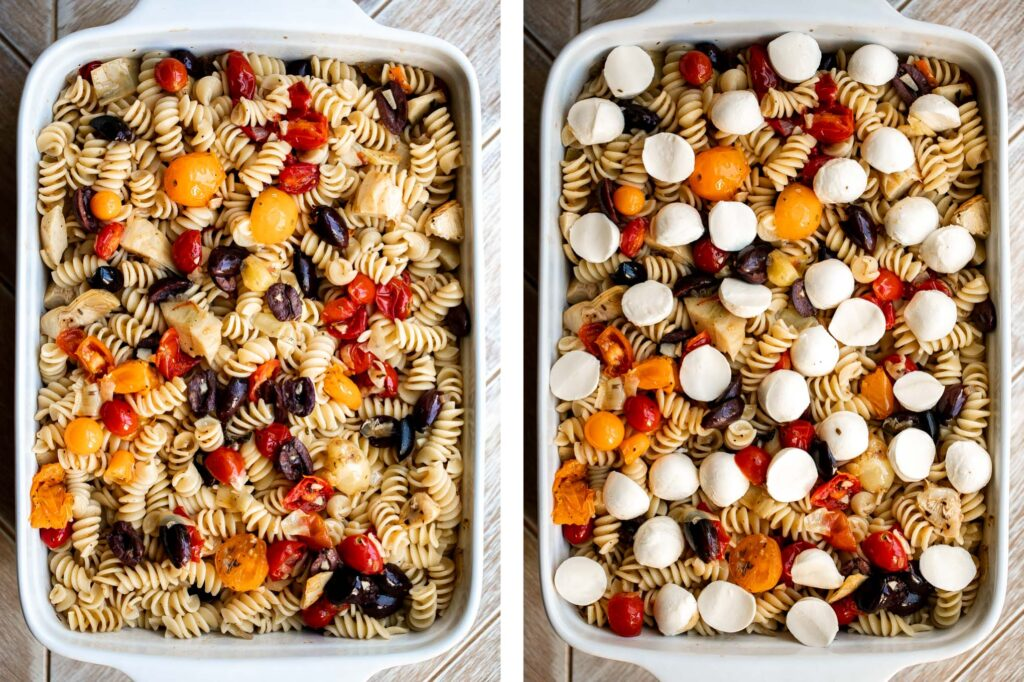 Baked Mediterranean pasta is simple, flavorful, and vibrant, loaded with fresh tomatoes, artichoke hearts, and olives, and topped with mozzarella cheese. | aheadofthyme.com