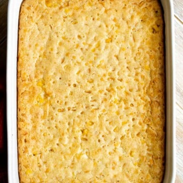 Creamy corn casserole is a comforting side dish that is creamy, savory, slightly sweet, and filling — a classic and traditional Thanksgiving holiday side. | aheadofthyme.com