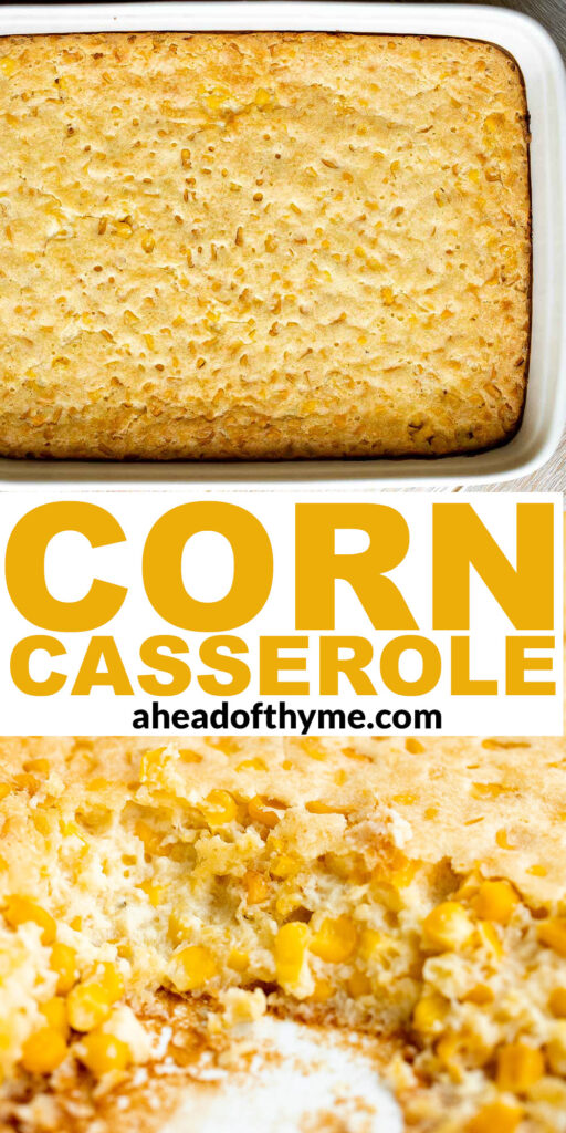 Creamy corn casserole is a comforting side dish that is creamy, savory, slightly sweet, and filling — a classic and traditional Thanksgiving holiday side.   aheadofthyme.com