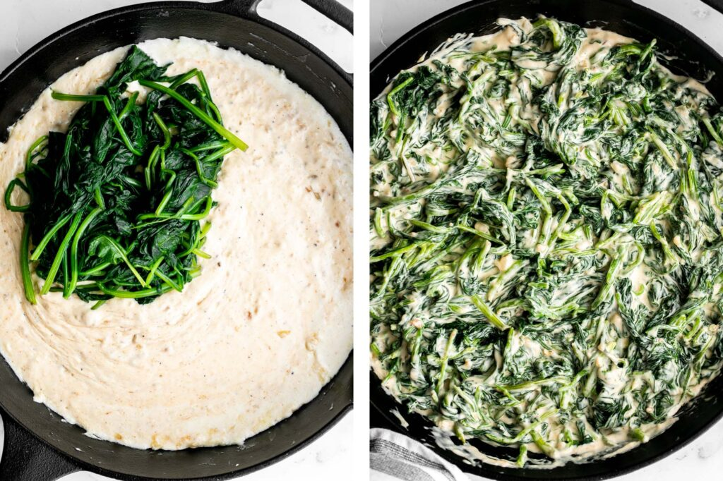 Creamed spinach is a rich, creamy, and delicious side dish to make this fall. Easy to make ahead and reheats well — perfect for Thanksgiving holiday dinner.   aheadofthyme.com