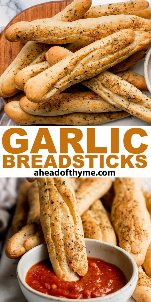 Soft garlic breadsticks are fluffy, airy, buttery, and delicious. They're an easy recipe that is perfect for beginners at baking bread. | aheadofthyme.com