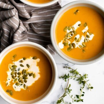 Instant pot butternut squash soup is the perfect fall dish to cook in your pressure cooker — warm, cozy, comforting, and creamy. Make in 15 minutes. | aheadofthyme.com