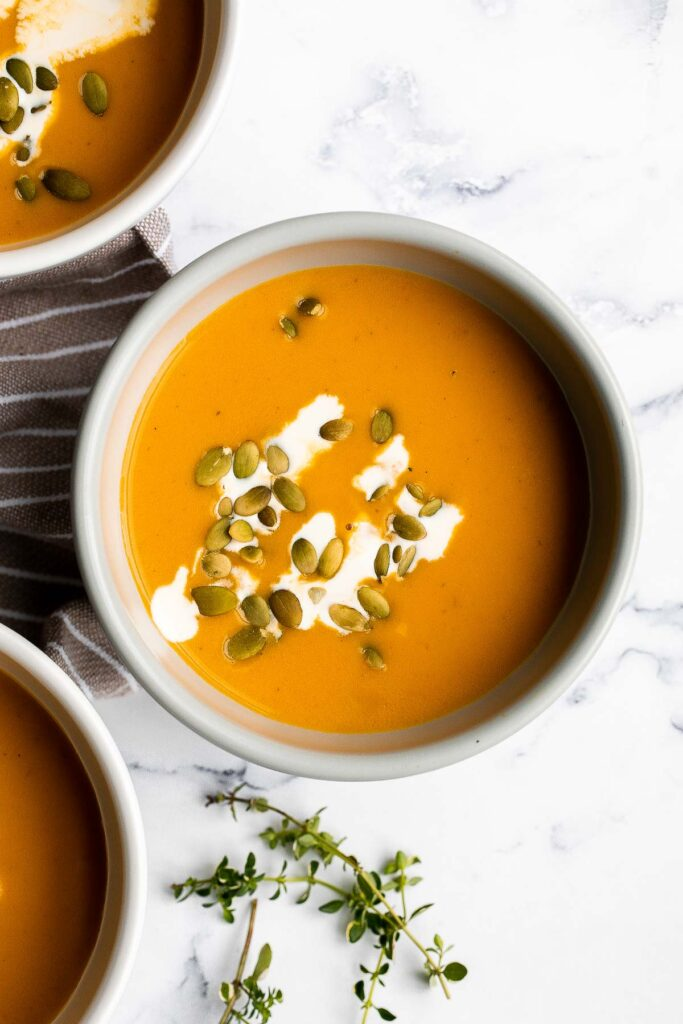 Instant pot butternut squash soup is the perfect fall dish to cook in your pressure cooker — warm, cozy, comforting, and creamy. Make in 15 minutes.   aheadofthyme.com