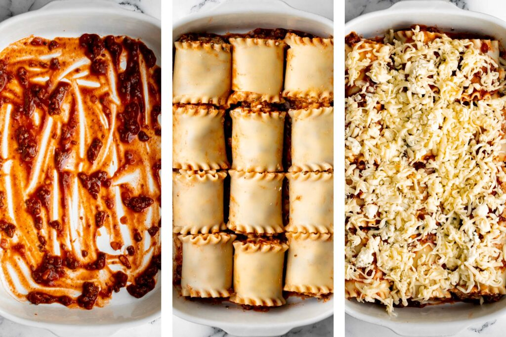 Lasagna roll ups are a twist on traditional lasagna. Lasagna noodles are filled with cheese and meat sauce and rolled up. Make ahead and freezer-friendly!   aheadofthyme.com