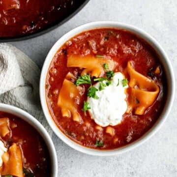 Lasagna soup is a twist on a classic Italian recipe with all the same delicious comforting flavors in the form of a hearty one pot soup. | aheadofthyme.com