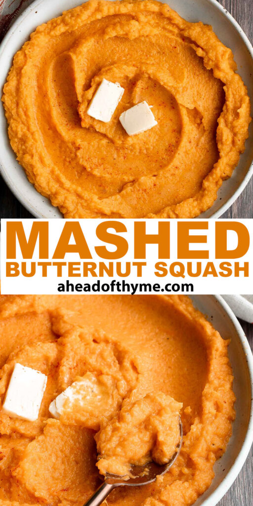 Mashed butternut squash is the perfect side dish for fall — creamy, smooth, and delicious, with the perfect balance between sweet and savory fall flavors. | aheadofthyme.com
