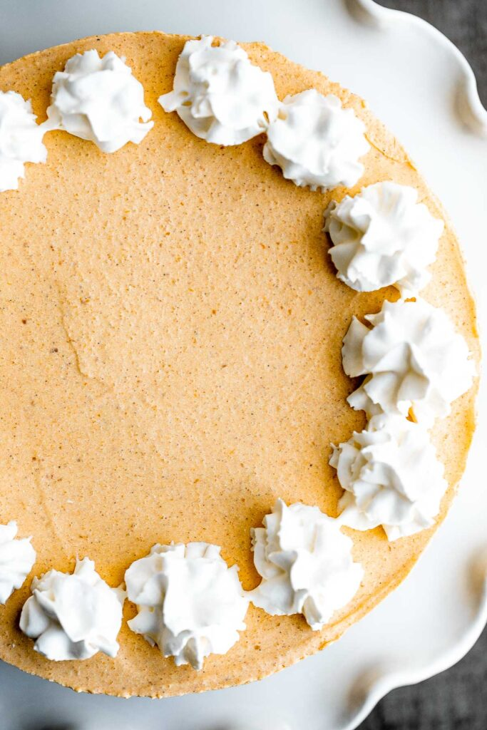 No bake pumpkin cheesecake is the easiest cheesecake to make this fall. It's light, smooth, creamy, and loaded with fall flavors like pumpkin and cinnamon.   aheadofthyme.com
