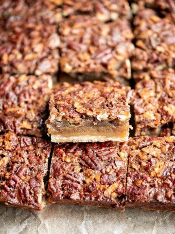 Pecan pie bars are the best and easiest way to enjoy the flavors of pecan pie but with half the effort and in a handheld bite-sized form.   aheadofthyme.com
