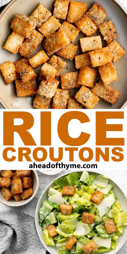 Gluten-free rice croutons are a delicious, crunchy, and chewy homemade snack with the same texture as the best part of rice — the crispy bottom of the pot! | aheadofthyme.com